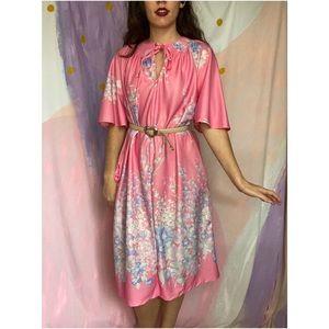 VINTAGE Sears 70s Bubblegum Pink Floral HouseDress